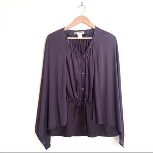 {Issey Miyake} Cape Button Front Blouse